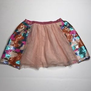 Cat & Jack Sequin Colorful Camo Star Skirt L 10-12